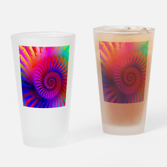 Psychedelic Pink Rainbow Fractal Ar Drinking Glass