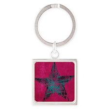Blue Star Square Keychain