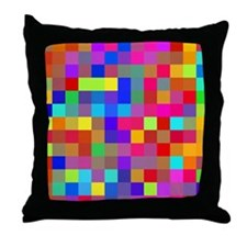 Rainbow Pixels Pattern Throw Pillow