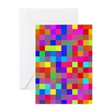 Rainbow Pixels Pattern Greeting Card