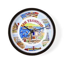 Vintage San Francisco Souvenir Graphics Wall Clock