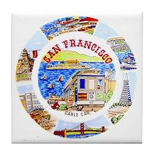 Vintage San Francisco Souvenir Graphi Tile Coaster