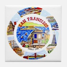 Vintage San Francisco Souvenir Graphi Tile Coaster