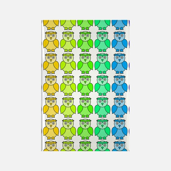Rainbow Owl Pattern Rectangle Magnet
