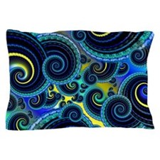 Funky Blue and Yellow Swirl Pattern Pillow Case