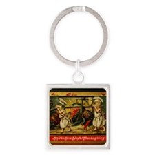 Thanksgiving Doxies Square Keychain