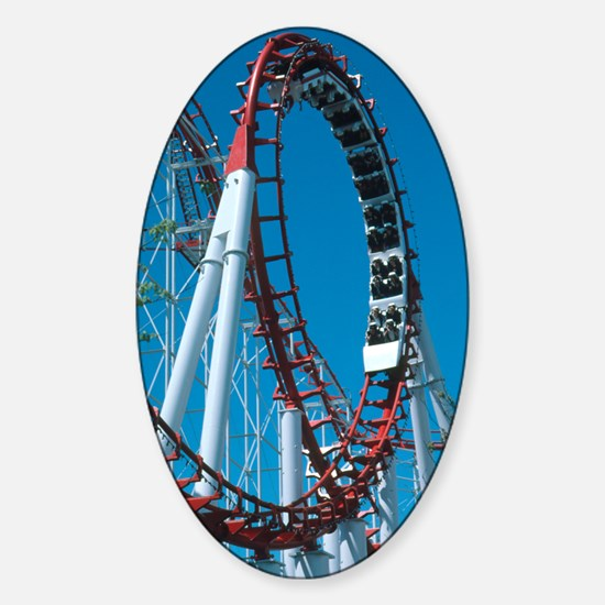 Loop section of a rollercoaster rid Sticker (Oval)