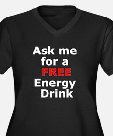 Free Energy Drink Women's Plus Size V-Neck Dark T-