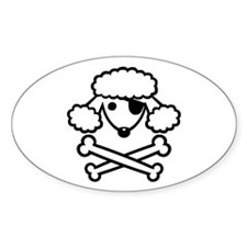 PoodlePirate-2 Oval Decal