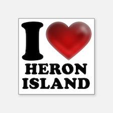 "I Heart Heron Island Square Sticker 3"" x 3"""