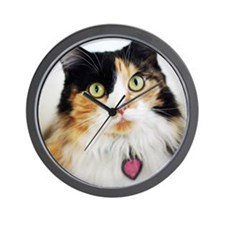 Close-up of long haired calico cat. Wall Clock