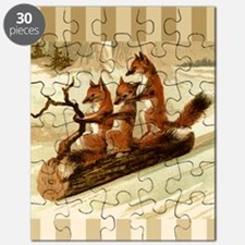 Winter Foxes Sledding Puzzle