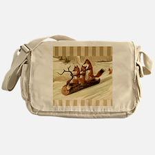 Winter Foxes Sledding Messenger Bag