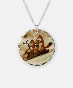 Winter Foxes Sledding Necklace