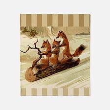 Winter Foxes Sledding Throw Blanket