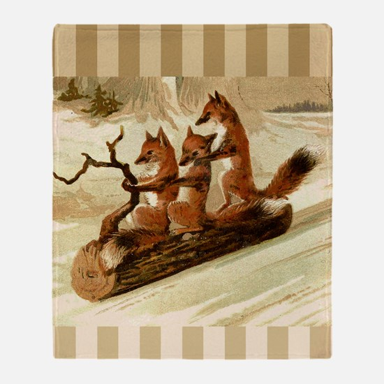 Winter Foxes Sledding Throw Blanket