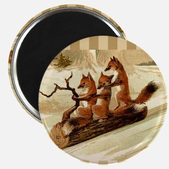 Winter Foxes Sledding Magnet