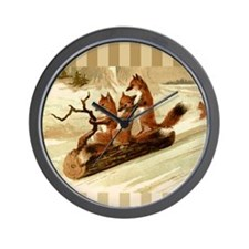 Winter Foxes Sledding Wall Clock