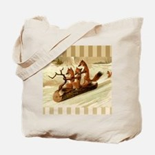 Winter Foxes Sledding Tote Bag