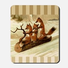 Winter Foxes Sledding Mousepad