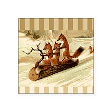 """Winter Foxes Sledding Square Sticker 3"""" x 3"""""""