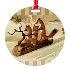 Winter Foxes Sledding Ornament