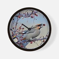 Bohemian waxwing 9x12 print Wall Clock