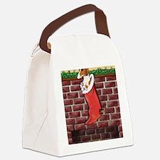 Piebald Dachshund Stocking Canvas Lunch Bag