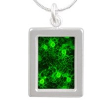 Oligodendrocyte nerve ce Silver Portrait Necklace