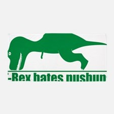 T-Rex Hates Pushups, Funny Dinosaur Beach Towel