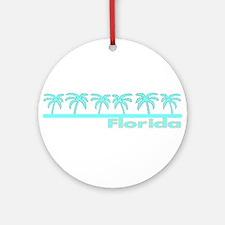 Florida Turquoise Palm Ornament (Round)