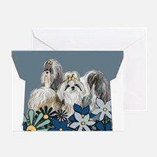 Shih Tzus In The Garden Greeting Card