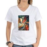 Still Life w/Bottle by Elsie Women's V-Neck T-Shir