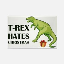 T-Rex hates Christmas Rectangle Magnet