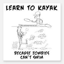 """Zombie vs. Kayaker Square Car Magnet 3"""" x 3"""""""