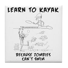 Zombie vs. Kayaker Tile Coaster