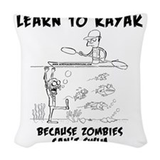 Zombie vs. Kayaker Woven Throw Pillow