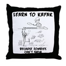 Zombie vs. Kayaker Throw Pillow