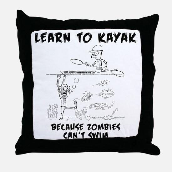 Zombie vs. Kayaker Throw Pillow