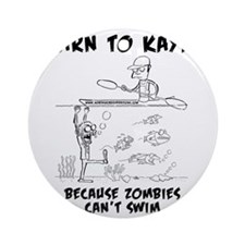 Zombie vs. Kayaker Round Ornament