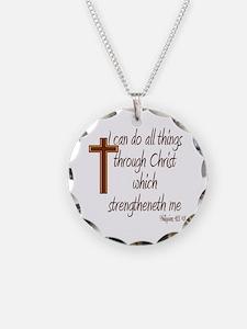 Philippians 4 13 Brown Cross Necklace