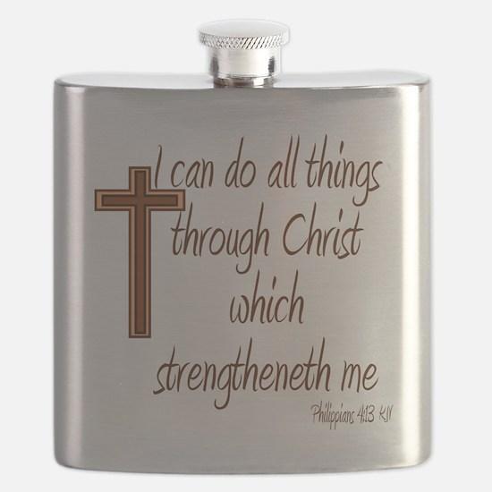Philippians 4 13 Brown Cross Flask