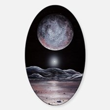 Pluto seen from Charon, artwork Sticker (Oval)