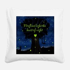 Fireflies light the heart of  Square Canvas Pillow