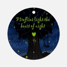 Fireflies light the heart of night  Round Ornament