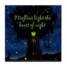 Fireflies light the heart of night SB Tile Coaster