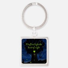 Fireflies light the heart of night Square Keychain