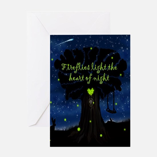 Fireflies light the heart of night S Greeting Card