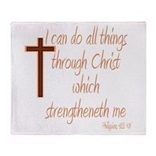 Philippians 4 13 Brown Cross Throw Blanket
