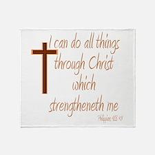 Philippians 4 13 Brown Cross Throw Blanket